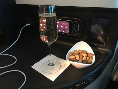 Etihad business class champagne and nuts