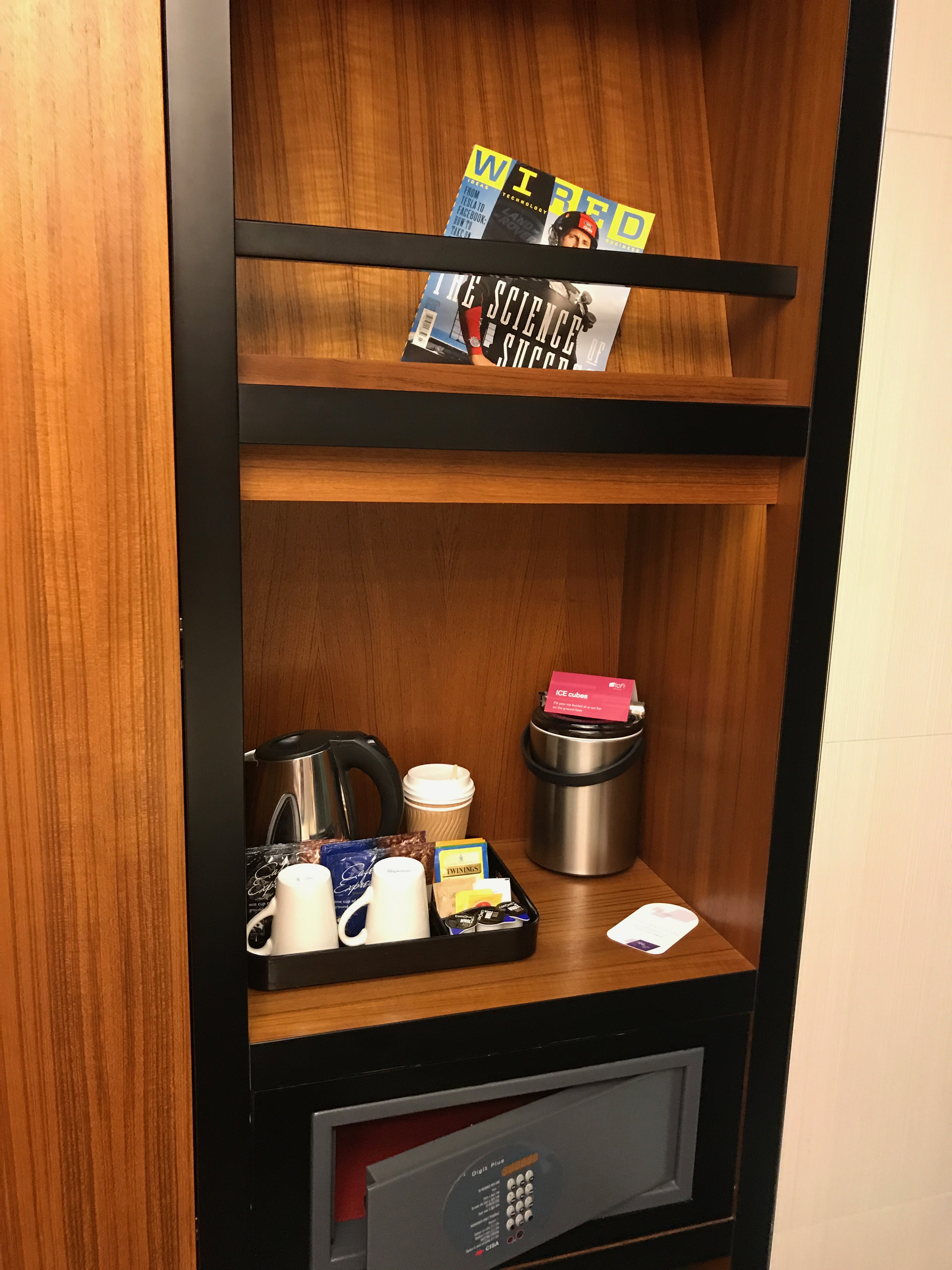 tea and coffee making facilities at the aLoft Excel