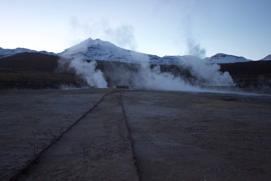 Steam rising from the Tatio geysers