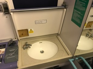 Sink in the berth on the Caledonian Sleeper