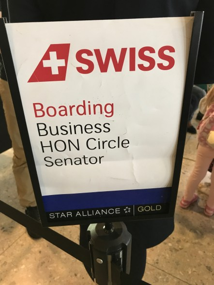 Swiss priority boarding sign
