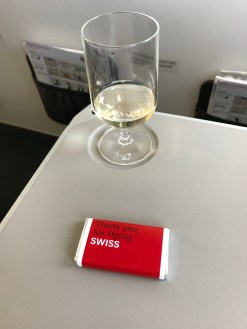 Glass of champagne and Swiss chocolate