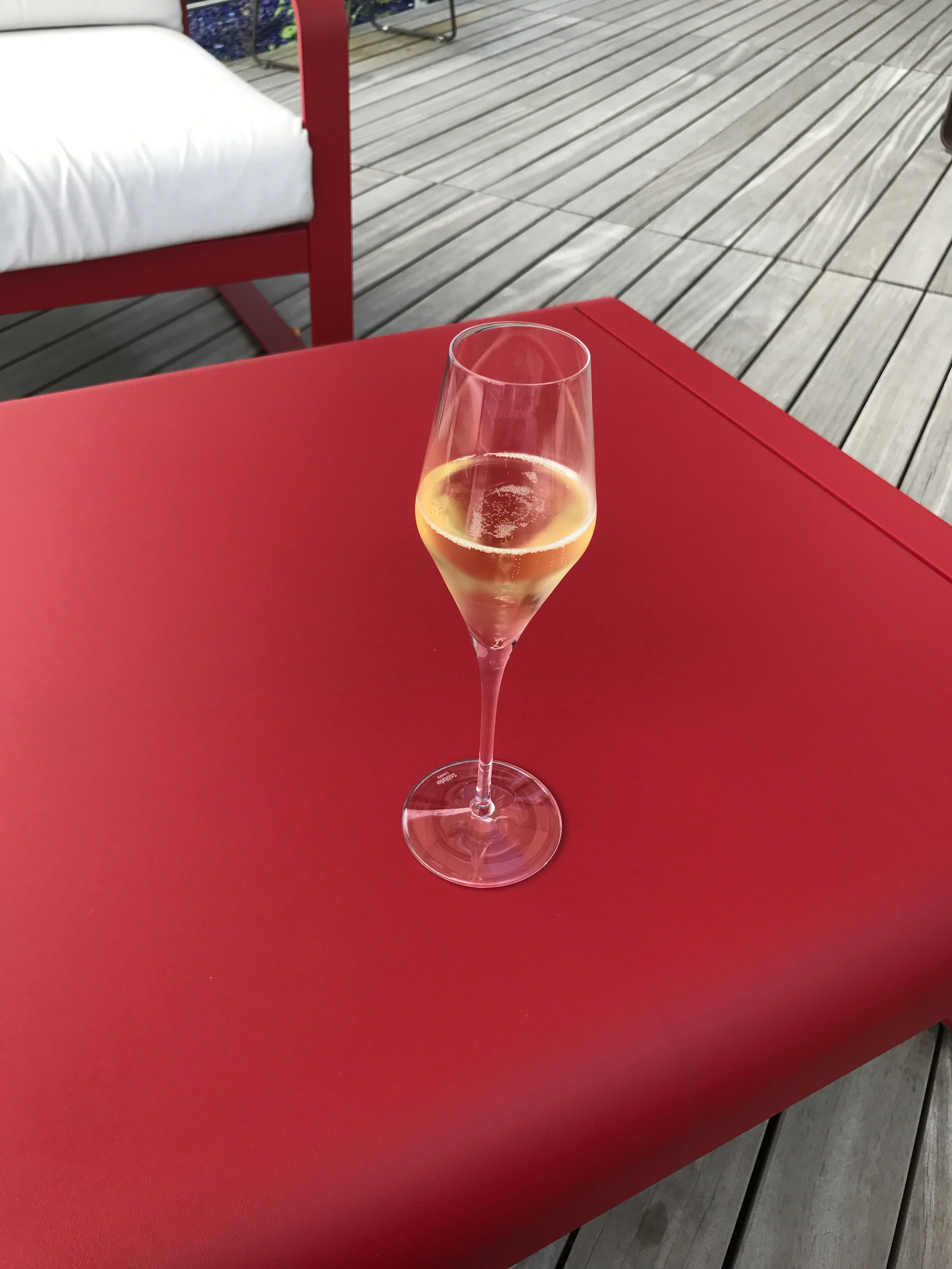 A glass of champagne on the terrace