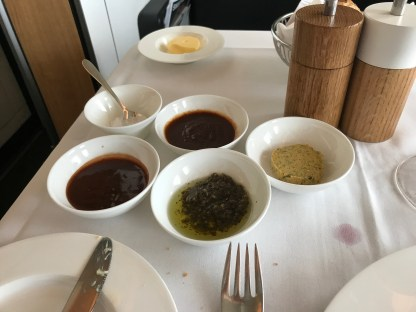 Sauces in Swiss first class to go with steak