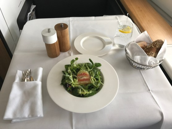 Swiss 777-300 first class light meal of trout salad