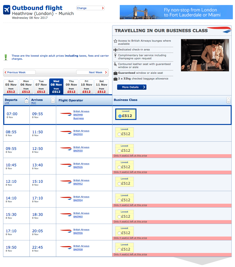 Screenshot from BA.com showing more expensive fares