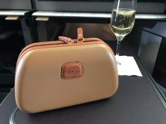 BRICS amenity kit with champagne on Qatar Airways