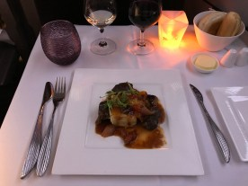 Qatar Airways business class main course lamb