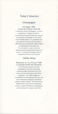 Concorde Menu White wine selection