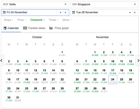 Low fare finder from Google Flights for SOF to SIN