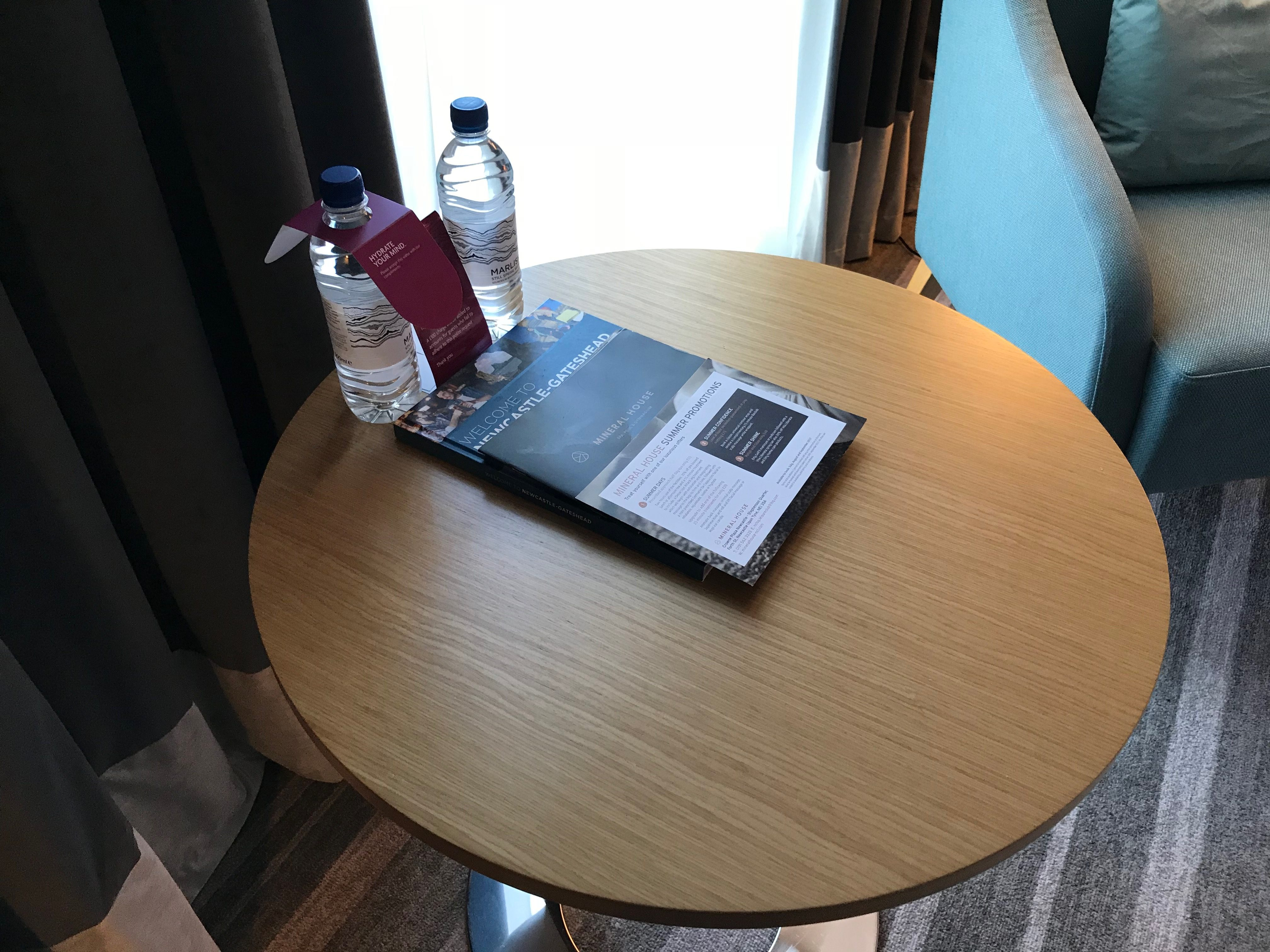 Crowne Plaza Newcastle complementary mineral water