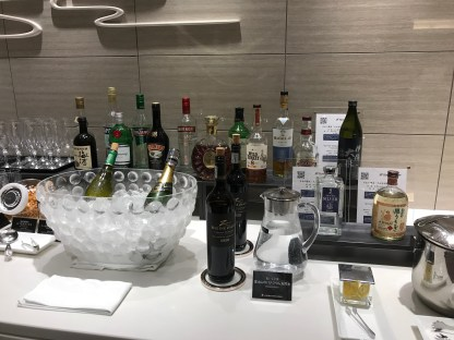 JAL First Class lounge Haneda spirits selection