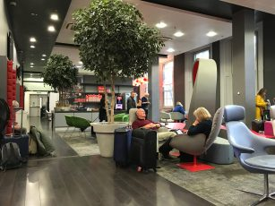Virgin Trains Kings Cross First Class lounge seating area