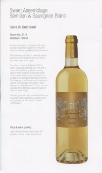 Qatar Airways Business Class Wine list dessert wine