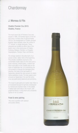 Qatar Airways Business Class Wine list chardonnay