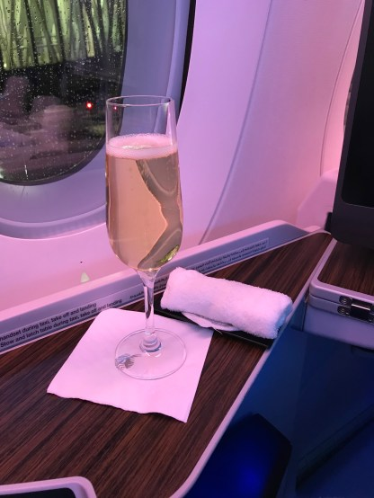 Qatar Airways A350 business class pre-departure champagne