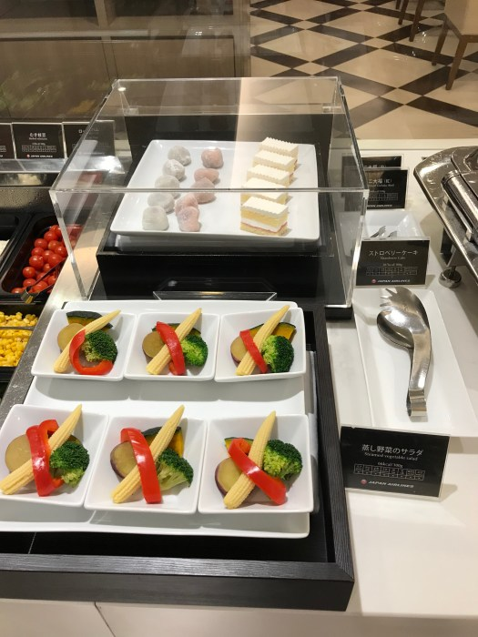 JAL First Class lounge Haneda crudités and cakes