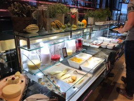 Breakfast cheese and smoothies at the Hilton Tallinn Park