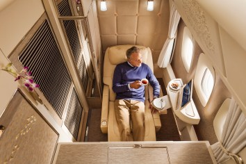 Emirates new B777 first class suite zero gravity position