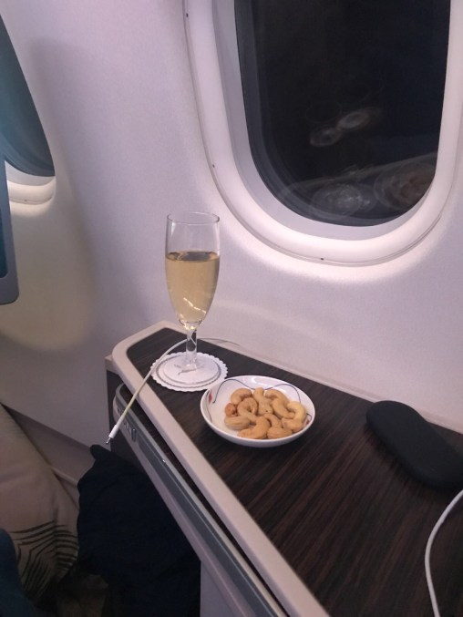Sri Lankan business class champagne and nuts