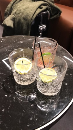 Qantas London Lounge gin and tonics