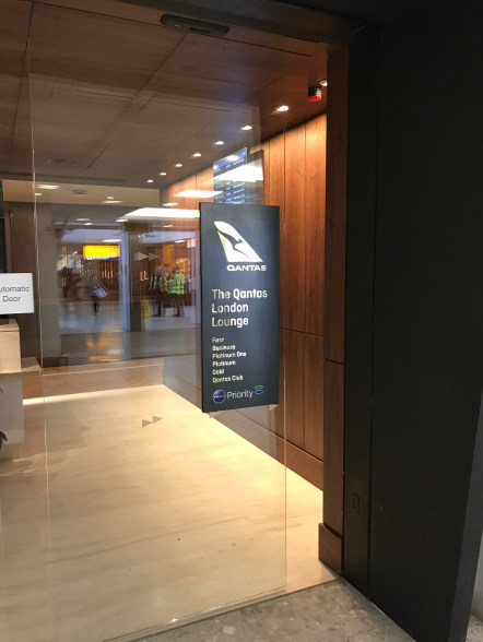 Qantas London Lounge entrance sign