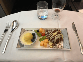 Singapore Airlines first class dessert selection
