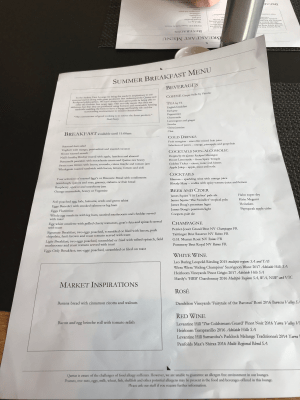 Qantas First Lounge Sydney breakfast menu