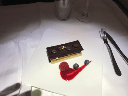 Lufthansa First Class chocolate dessert