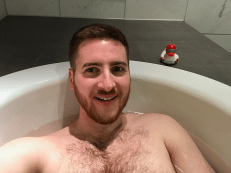 Ginger Travel Guru in the bath