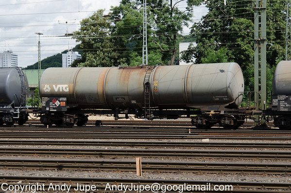 Austrian registered bogie tank wagon Zans 33 81 7848 928-6, passes through Aachen West Yard, Germany on the 30th of July 2013