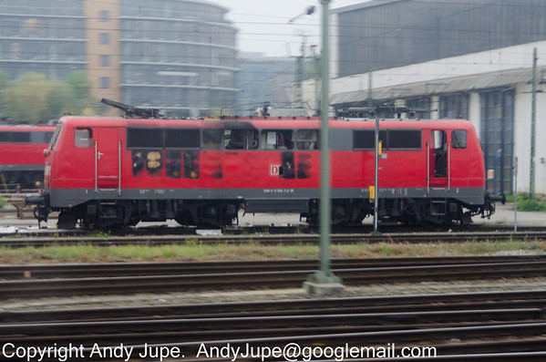 A very burnt out Class 111 006-3 sits out München depot on the morning of 8th of October 2013