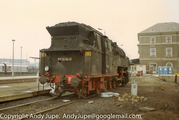 95 1016-5 sits in steam at Bautzen, Germany sometime in the early 1990s.