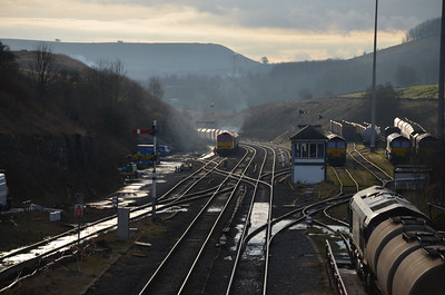 60 007 arrives at Peak Forest on the 10th January 2012