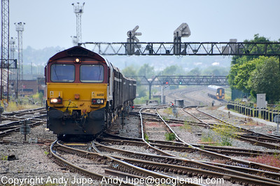 66 158 approaches Cardiff Central with 6A97 14:34 Grange Sidings to Acton Yard slag working on the 12th June 2012