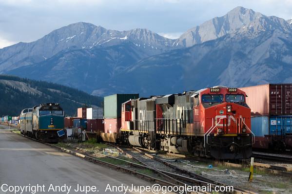CN 2322 & CN 5654 haul a Intermodal service through Jasper, Alberta, during the evening of the 3rd of June 2014.
