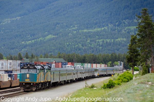 VIA Rails 6437 & 6411 depart Jasper, AB with Eastbound
