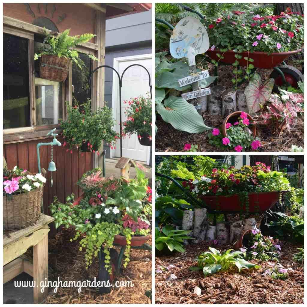 Garden Vignettes using an old wheelbarrow.