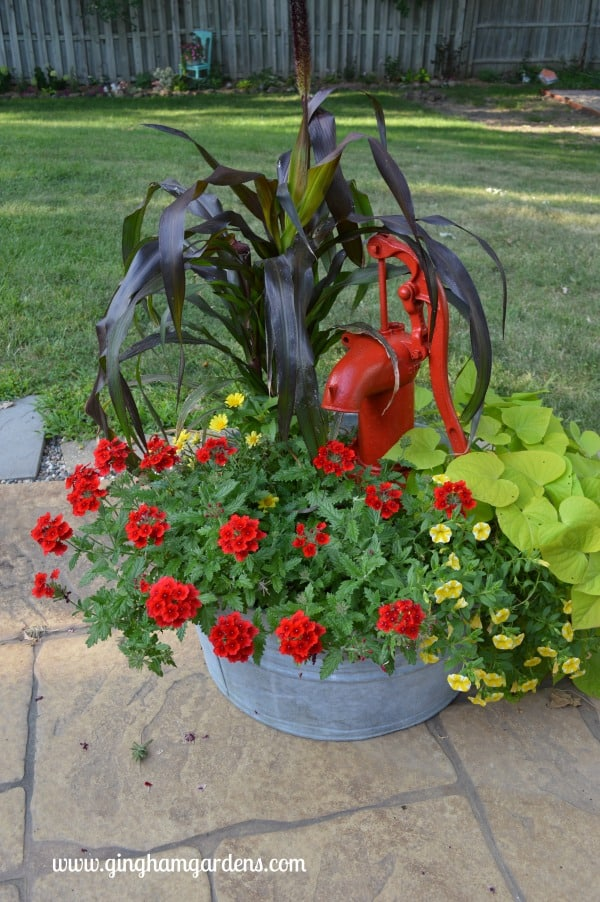 Galvanized Tub with Flowers and a Vintage Pump - Upcycled Vintage Garden Decor