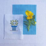 Yellow and blue cross stitch
