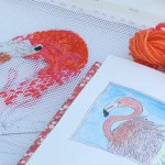 Pretty Pink Flamingo needlepoint