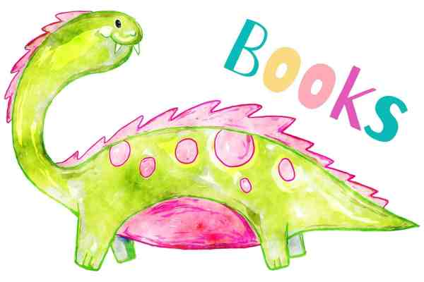 A cartoon dinosaur with the word Books in bright colours