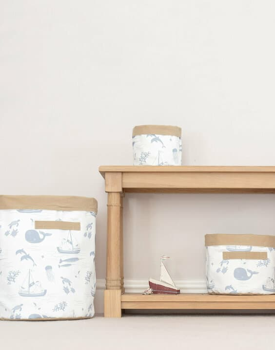 Fabric baskets fro Joules for toy storage ideas by GinGin & Roo