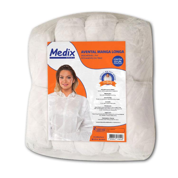 Avental Manga Longa-Medix c  10 UND. - Gino Material Médico Hospitalar fbaa920f2fb