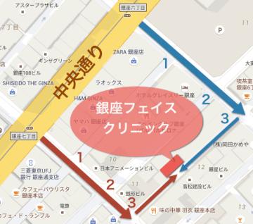 中央通り「銀座六丁目」「銀座七丁目」を昭和通り方向(南)へ曲がって3つ目の通りです。