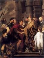 "Anthonis van Dyck, ""Emperor Theodosius forbidden by St. Ambrose to enter Milan Cathedral"" (1620)"