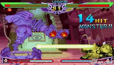 La nostra PSP può avviare una grande quantità di giochi tridimensionali, ma riesce benissimo anche in quelli che non fanno affatto uso del caro 3D. Trattandosi d'una console portatile dalle grandi potenzialità infatti, i giochi in 2D possono tendere ad andare ad una velocità fissa di 30Fps o addirittura superiore. Se vogliamo un gioco di lotta con questa velocità, dobbiamo cercare Darkstalkers Chronicle: The Chaos Tower. Con un bel video introduttivo per ogni personaggio, questo gioco di lotta s'incentra su personaggi al quale sono basate storie o miti. C'è un vampiro, un licantropo, il classico Frankenstein ed anche qualche altro mostro tipicamente giapponese. In poche parole, è una lotta mostro VS mostro, il tutto in una grafica che ricorda molto gli anime (i cartoni animati giapponesi). Le mosse possono essere molto base all'inizio, permettendo così anche ai più principianti di giocare senza molti problemi. Nonostante ciò questo titolo permette anche combo e combinazioni molto elaborate, con mosse spesso sorprendenti. Il gioco ha però qualche tipico personaggio fin troppo potente, come la mummia che cambia addirittura forma per colpire gli avversari in tanti modi. Ma abbiamo comunque un gioco con controlli molto efficienti e rapido. E' anche pieno di dettagli, ma gran parte dei disegni finiscono quasi sempre per perdersi nella frenesia della lotta e soprattutto nell'intera tonalità scura che Darkstalkers ha con sé. E' un piccolo peccato attualmente che un gioco così semplice e con una grafica così leggera richiede tanto tempo per caricare ogni livello, a volte perfino 10 secondi ogni volta.  Anche se magari non sono così tanti la pazienza d'un videogiocatore può essere molto corta...ma fortunatamente le lotte che offre questo gioco sono davvero interessanti. E' possibile cambiare anche la difficoltà se non siamo soddisfatti della performance dei nostri avversari, tant'è che la difficoltà più normale può dare qualche fastidio a quelli più abili: è infatti un gioco