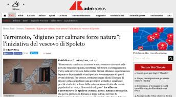 """""""ADN Kronos"""", """"Terremoto, digiuno per calmare forze natura: l'iniziativa del vescovo di Spoleto"""", 26 gennaio 2017."""