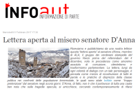"""Info Aut"", ""Lettera aperta al misero senatore D'Anna"", 1 febbraio 2017: http://www.infoaut.org/index.php/blog/metropoli/item/18176-lettera-aperta-al-misero-senatore-danna"