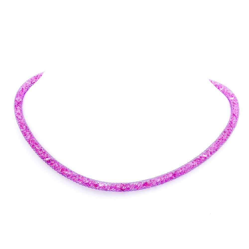Collana viola Orchidea con cristalli luminosi in argento 925